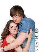 Купить «Молодая пара. Изолированно на белом фоне.», фото № 341193, снято 15 мая 2008 г. (c) Сергей Сухоруков / Фотобанк Лори