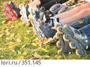 Купить «Ноги роллеров на траве. Roller legs on the grass», фото № 351145, снято 30 сентября 2007 г. (c) Losevsky Pavel / Фотобанк Лори