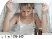 Купить «Девушка делает ингаляцию», эксклюзивное фото № 359265, снято 20 февраля 2005 г. (c) Дмитрий Неумоин / Фотобанк Лори