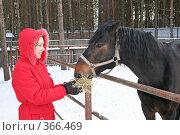 Купить «Девушка и лошадь», фото № 366469, снято 28 января 2007 г. (c) Losevsky Pavel / Фотобанк Лори