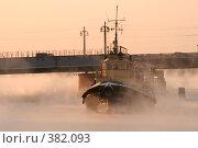 Купить «Маленький речной ледокол под мостом», фото № 382093, снято 29 марта 2020 г. (c) Георгий Солодко / Фотобанк Лори