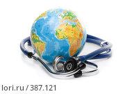 Купить «Глобус и стетоскоп на белом фоне», фото № 387121, снято 21 мая 2008 г. (c) Мельников Дмитрий / Фотобанк Лори