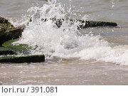 Купить «Брызги прибоя на Азовском Море. Голубицкая, Темрюк», фото № 391081, снято 6 августа 2008 г. (c) Федор Королевский / Фотобанк Лори