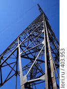 Купить «ЛЭП на фоне голубого неба», фото № 403953, снято 9 августа 2008 г. (c) Дмитрий Лагно / Фотобанк Лори