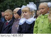Купить «Первоклассники на торжественной линейке», фото № 409957, снято 1 сентября 2007 г. (c) Михаил Мозжухин / Фотобанк Лори