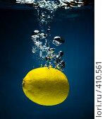 Купить «Свежий лимон в воде на черном фоне с воздушными пузырьками», фото № 410561, снято 8 июля 2008 г. (c) Мельников Дмитрий / Фотобанк Лори