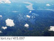 Вид из самолета. Фьорды. Норвегия (2008 год). Стоковое фото, фотограф E. O. / Фотобанк Лори
