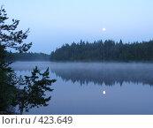 Купить «Утренний туман на диком озере в лесу», фото № 423649, снято 23 июля 2005 г. (c) Max Toporsky / Фотобанк Лори