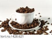 Купить «Чашка, наполненная натуральным кофе в зернах», фото № 428621, снято 28 августа 2008 г. (c) Кирилл Курашов / Фотобанк Лори