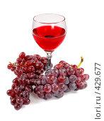 Купить «Бокал красного вина и  гроздья красного винограда», фото № 429677, снято 29 июля 2008 г. (c) pzAxe / Фотобанк Лори