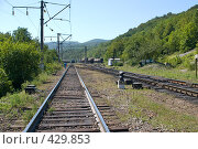 Купить «Железная дорога в горах на Кавказе», фото № 429853, снято 28 августа 2008 г. (c) Федор Королевский / Фотобанк Лори