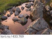 Купить «Камни в воде в закатном свете», фото № 433769, снято 31 июля 2008 г. (c) Роман Коротаев / Фотобанк Лори