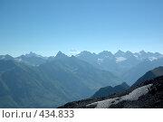 Купить «Вид на вершину Эльбруса и Главный Кавказский хребет», фото № 434833, снято 4 августа 2006 г. (c) Алексей Бок / Фотобанк Лори