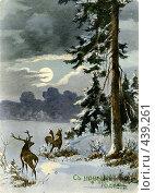 Купить «Дореволюционная новогодняя открытка», фото № 439261, снято 13 ноября 2019 г. (c) Retro / Фотобанк Лори