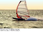 Купить «Силуэт виндсерфера, плывущего на большой скорости», фото № 450925, снято 26 июля 2008 г. (c) Сергей Сухоруков / Фотобанк Лори