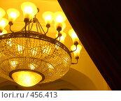Купить «Золочёная люстра,алая парча», фото № 456413, снято 31 августа 2008 г. (c) Ирина Кочергина / Фотобанк Лори