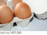 Купить «Куриные яйца в коробке», фото № 457585, снято 4 апреля 2008 г. (c) Юлия Смольская / Фотобанк Лори