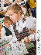 Купить «Первоклассница на уроке», фото № 465545, снято 18 сентября 2008 г. (c) Федор Королевский / Фотобанк Лори
