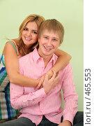 Купить «Девушка обнимает молодого человека», фото № 465553, снято 17 июня 2019 г. (c) Losevsky Pavel / Фотобанк Лори