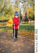 Купить «Мальчик с желтыми листьями и самокатом», фото № 465965, снято 10 января 2019 г. (c) Losevsky Pavel / Фотобанк Лори