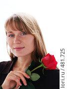 Девушка с яркой, красной розой на белом фоне. Стоковое фото, фотограф Sergey Toronto / Фотобанк Лори