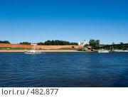Купить «Великий Новгород. Кремлевская стена. Река Волхов», фото № 482877, снято 6 августа 2008 г. (c) Андрей Некрасов / Фотобанк Лори