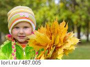Купить «Девочка с осенними листьями», фото № 487005, снято 27 сентября 2008 г. (c) Майя Крученкова / Фотобанк Лори