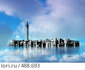 Купить «Подводный город», иллюстрация № 488693 (c) ElenArt / Фотобанк Лори