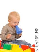 Купить «Маленький мальчик играет в кубики», фото № 491165, снято 30 августа 2008 г. (c) Валентин Мосичев / Фотобанк Лори