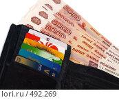 Купить «Бумажник с кредитками и деньгами», фото № 492269, снято 27 сентября 2008 г. (c) Вячеслав Жуковский / Фотобанк Лори