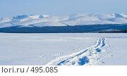 Купить «Голубой горный пейзаж зимой», фото № 495085, снято 22 марта 2008 г. (c) Ольга Красавина / Фотобанк Лори