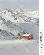 Купить «Красный домик в горах, Франция», фото № 498213, снято 1 февраля 2008 г. (c) Fro / Фотобанк Лори