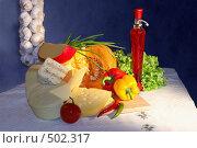 Купить «Натюрморт с различными сортами сыра и свежими овощами», фото № 502317, снято 11 декабря 2005 г. (c) Татьяна Белова / Фотобанк Лори