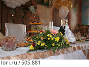 Купить «Праздничный стол», фото № 505881, снято 11 октября 2008 г. (c) Евгений Батраков / Фотобанк Лори