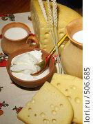 Натюрморт деревенский с сыром, молоком и сметаной. Стоковое фото, фотограф Татьяна Белова / Фотобанк Лори