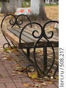 Купить «Скамейка осенью», фото № 508217, снято 12 октября 2008 г. (c) Блинова Ольга / Фотобанк Лори