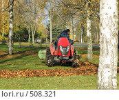 Купить «Уборка осенних листьев в парке», фото № 508321, снято 13 октября 2008 г. (c) Людмила Жмурина / Фотобанк Лори