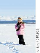 Купить «Девочка с елочной веткой на фоне синих зимних гор», фото № 510933, снято 22 марта 2008 г. (c) Ольга Красавина / Фотобанк Лори