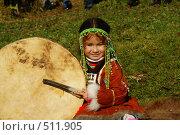 Купить «Девочка с бубном», фото № 511905, снято 4 октября 2008 г. (c) Анатолий Никитин / Фотобанк Лори