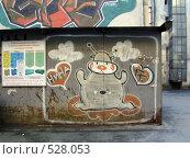 Купить «Граффити на стене гаража. Питерский дворик», фото № 528053, снято 21 октября 2008 г. (c) Наталья Лукина / Фотобанк Лори