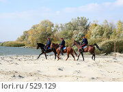 Купить «Донские казаки скачут верхом на конях», фото № 529129, снято 12 октября 2008 г. (c) Виктор Филиппович Погонцев / Фотобанк Лори