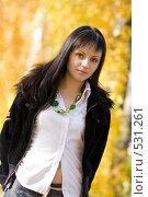 Купить «Молодая девушка брюнетка», фото № 531261, снято 6 октября 2008 г. (c) Рыбин Павел / Фотобанк Лори
