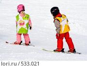 Купить «Первые шаги на горных лыжах», фото № 533021, снято 13 марта 2008 г. (c) Николай Коржов / Фотобанк Лори