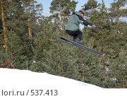 Купить «Прыгающий горнолыжник», фото № 537413, снято 19 марта 2005 г. (c) Сергей Буторин / Фотобанк Лори