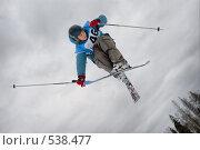 Купить «Лыжник в полете. Фристайл.», фото № 538477, снято 8 марта 2008 г. (c) Сергей Юрченко / Фотобанк Лори