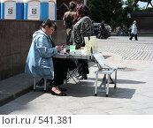 Купить «Манежная площадь. Москва. Женщина продает экскурсионные билеты», эксклюзивное фото № 541381, снято 30 мая 2008 г. (c) lana1501 / Фотобанк Лори