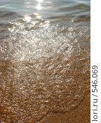 Купить «Волна, накатывающая на песчаный берег», фото № 546069, снято 21 ноября 2018 г. (c) Ольга Завгородняя / Фотобанк Лори