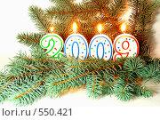Купить «Новогодние свечи - 2009 на ветке ели», фото № 550421, снято 6 марта 2020 г. (c) Юлия Машкова / Фотобанк Лори