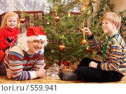 Купить «Семья у новогодней елки», фото № 559941, снято 13 ноября 2008 г. (c) Майя Крученкова / Фотобанк Лори