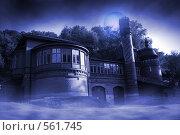 Здание в тумане. Стилизация. Редакционная иллюстрация, иллюстратор Игорь Михновец / Фотобанк Лори